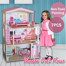 Large Wooden Dolls Doll House 3 Level Kids Pretend Play Toys Full Furniture Fr