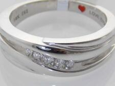 MENS 14K WHITE GOLD HIGH POLISHED DIAMOND COMFORT-FIT BAND RING 8mm SIZE 10