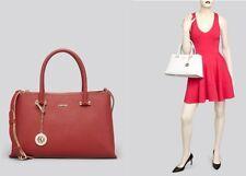 DKNY Bryant Park Saffiano Leather Satchel Womens Handbag Brick Red Cold hardware