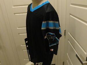 Vtg 90's Black Champion BLANK Carolina Panthers Nylon NFL Screen Jersey Size 48