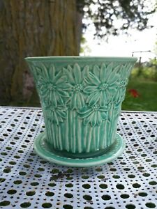 """Vtg Brush McCoy Green Daisy Planter Art Pottery Turquoise 5"""" Flower Pot Rare"""