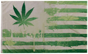 Green USA American Marijuana Weed Pot Leaf 100D Woven Poly Nylon 3x5 3'x5' Flag