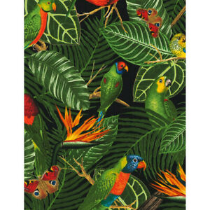 PARROTS IN THE BRIGHT JUNGLE 100/% COTTON PATCHWORK  QUILTING FABRIC