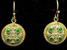 E077- Genuine 9ct Solid Gold Natural Emerald Fleur-de-Lis Earrings Two-Tone Drop