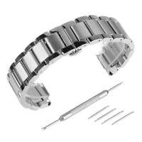 18-24mm Acier Inox Bracelet de Montre Boucle Argenté Deployante