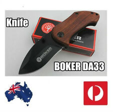 BOKER DA33 Mini Small Folding Knife 440C Blade Wood Handle survival Pocket Knif
