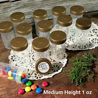 "12 Pill Bead Jars 2+"" tall Screw Gold Cap 1 ounce Favor Container #3812 USA New"