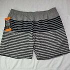 KIRKLAND SIGNATURE Swim Shorts Trunks Comfort Waistband GRAY Stripe XXL