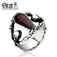 Punk Personalized Vampire coffin Skull Ring Stainless Steel Man's Jewelry 11#