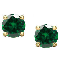 2Ct Emerald Stud Earrings Round Solitaire Earrings 14K Gold Silver Halloween