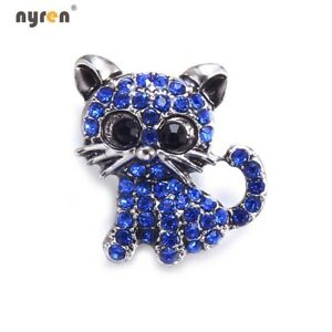 18mm Snap Button Metal Rhinestone Cat Snap Charms Multi Color Snap Jewelry 0140