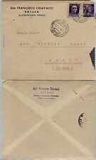 RSI-GEMELLI 50c IMPERIALE+MONUMENTI DITRUTTI-Busta Crespano del Grappa 27.2.1945