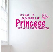 Hot Pink Princess Girls room decor Art Vinyl Wall Stickers Home Wall Decals