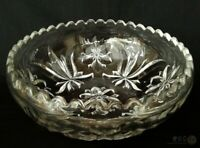 VTG Pressed Glass Stylised Fleur De Lys And Rose Bowl 9"