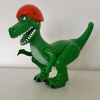 """EXTREMLEY RARE TOY STORY REX DINOSAUR  6"""" POSEABLE FIGURE IN CRASH RED HELMET"""
