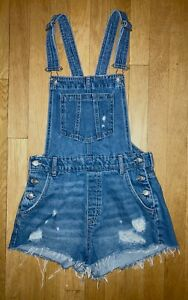 H&M Divided Size 4 Distressed Denim Overall Shorts Pockets Cotton Free Ship