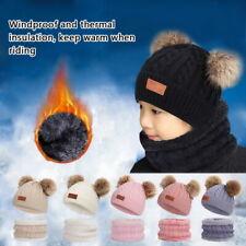 Toddler Kids Baby Boy Girl Warmer Winter Pom Bobble Hat Knit Beanie Cap Scarf