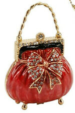 HANDBAG RED TRINKET BOX TREASURED TRINKETS GIFT, ORNAMENT, COLLECTABLE