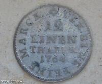 Coin Münze 1/12 Taler Friedrich August II. König von Sachsen 1764 Silber silver
