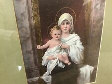 Antique Gold Guesso Frame Madonna Child Period Print