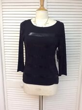 Ladies,Pullover 3/4Slv,Stretch w/bands of Sequins, Black,Sz S,Jones New York NWT