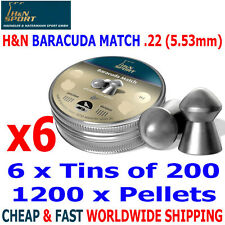 H&N BARACUDA MATCH .22 5.53mm Airgun Pellets 6(tins)x200pcs HUNTING & FT