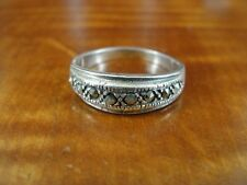 Marcasite Stones Band Sterling Silver 925 Ring Size 7