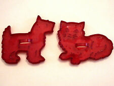 CROWN HRM COOKIE CUTTER Lot RED PLASTIC KITTEN CAT & TERRIER DOG Vintage