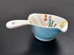 "Vtg Ceramic Gravy Boat Fat Separator Japan Blue ""Our Own Import"" 1970's Unigue"
