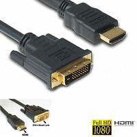 HQ HDMI Male to DVI-D 24+1 Monitor Display Adapter Cable for HDTV HD Laptop FT