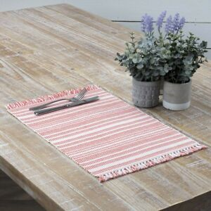 """VHC Brands Farmhouse 12""""x18"""" Placemat Set of 6 Red Madeline Kitchen Table Decor"""