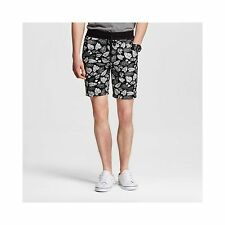 Mossimo Men's Shorts Black White Leaf Print Size Medium 100% Cotton Casual NWT