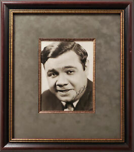 Babe Ruth Autographed Framed 6x8 Photo Yankees Auto Grade 9 PSA/DNA AH00679