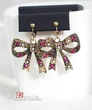 Boucles d`Oreilles Clips Gros Noeud Papillon Bow Multicolore Rose Vintage XX 8