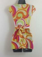 WOMENS JANE NORMAN LONG TOP BRIGHT MULTI COLOUR CAPPED V/WRAP NECK SLEEVE SIZE 8