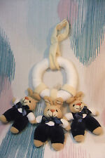 Children Soft Plush 3 Rabbit in Hanging Ring with a soft Rattle! Cot Pram Decor!
