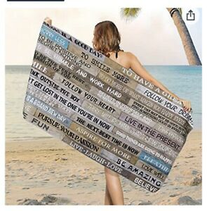 3 Pc Set Microfiber Inspirational Quotes Beach Towel Wooden Poster Beach Towels