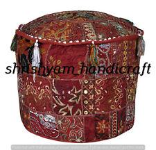 "22"" Indian Pouf Cover Cotton Ottoman Handmade Sari Patchwork Floor Sofa Throw"