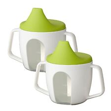 2 x IKEA BÖRJA (Borja) Baby Training Beakers/Sip Cups With Lids & Large Handles
