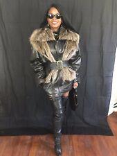 Fab vtg Designer Yves Salomon black leather & Raccoon fur trim Jacket Coat Sz 40