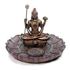 "SHIVA ROUND INCENSE BURNER 3.5"" Hindu Deity God Resin Statue HIGH QUALITY Holder"