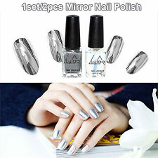 2pcs Mirror Nail Polish Chrome Varnish Coat + Base Silver Effect Art Manicure DI