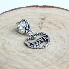 Love heart Silver Slide Dangle charm charms bead beads Bracelets Bracelet gift