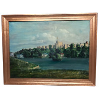 """Fine 20th Century Oil Painting Royal Windsor Castle """"View From The Thames"""""""
