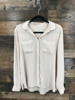 Ann Taylor Loft Women's Tan & White Trim Long Sleeve Sheer Button Up Blouse Sz L