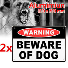2x Warnging Sign Beware of Dog 20x30cm Aluminium Security Safe Home Farm Outdoor