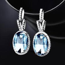 HUCHE Aquamarine Gemstone Oval Dangle White Gold Filled Women Banquet Earrings