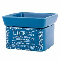 Life Learning Dance in the Rain Blue 2-In-1 Jar Candle and Wax Tart Oil Warmer