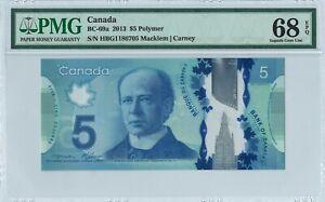 Canada 5 Dollars BC-69a 2013 PMG 68 EPQ First pfx s/n HBG1186705 Polymer