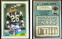 Lionel James Signed 1988 Topps #207 Card San Diego Chargers Auto Autograph